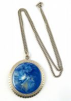 Vintage Blue Glass Swirl Necklace By Exquisite